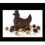 Poule et oeufs praliné chocolat noir